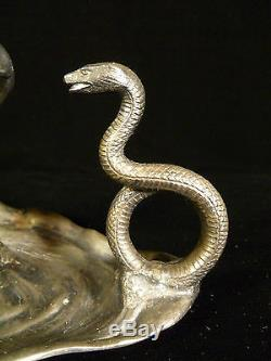 Fantastic Silver Plated Art Nouveau Lady & Snake Candle Holder Circa 1910