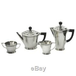 Four-Piece Art Deco Silver Plate Tea Set by Keith Murray for Mappin and Webb