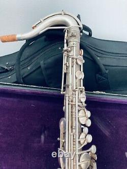 Frank Holton silver tenor Saxophone nice engravings original accessories