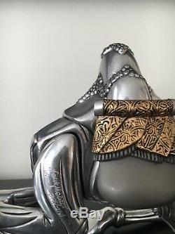 Frank Meisler Sitting Camel Silver & Gold Plated Sculpture