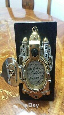 Frank Meisler Vintage Mezuzah Silver & Gold Plated Metal on Marble Stand