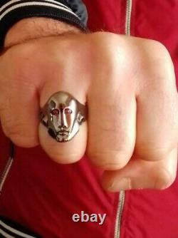 Frank the robot ring handmade sterling silver 925 black rhodium plated