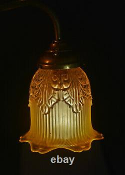 French 1930s art deco silver plated swan neck student lamp Opaline glass shade