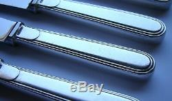 French ART DECO CHRISTOFLE LAOS Silver Plate Dessert Knives Inox Blades Set of 6