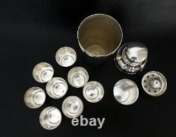 French Art Deco Barware Set Large Cocktail Shaker, 8 Tumblers & Fruit Press on