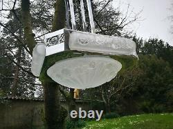 French art deco silver plated bronze and frosted glass Hanging lamp Degue
