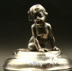 GERMAN WMF ART NOUVEAU Figural Silver Plate Sugar Bowl Nude Cherub with Frog