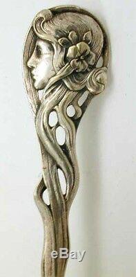 GORGEOUS WMF ART NOUVEAU Lady Face Silver Plate PUNCH/ SOUP LADLE Spoon