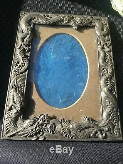 GREATc1900 JAPANESE MEIJI DRAGON FIGURAL SILVER PLATE MIRROR PHOTO PICTURE FRAME