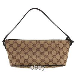 GUCCI Original GG Canvas Leather Pouch Hand Bag Brown Italy Authentic #BC41 Y