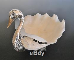 Gabriella Binazzi Firenze Foresto Giant Clam Shell Silver Plated Duck Sculpture