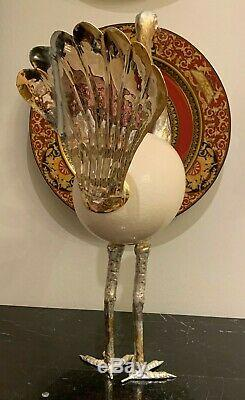 Gabriella Binazzi Gorgeous and Tall Silver Plate Ostrich Sculpture with Egg Body