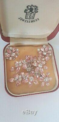 Genuine Jewel Crest (Donald Simpson) pink crystal floral brooch and matching ear