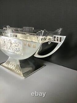 German WMF Art Deco Silver plated centerpiece with original glass insert