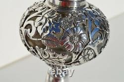 Gorgeous Antique Victorian Era Silver Plated Oil/ Kerosene Lamp Flowers