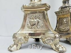 Great Silver Plated Set Religious Altar Church Candlesticks Candelabra Crucifix