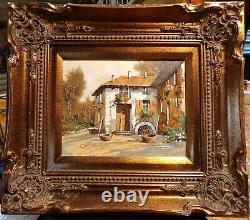 Guido Borelli Original Oil on Silver Plate 12 x 10 Art, 18 x 16 Framed