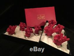 Hans Turnwald Red Coral Figure Napkin Rings In Original Boxes Silver Plated