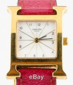 Hermès Heure H Women's Gold-Plated Quartz Watch with Original Pink Leather Band