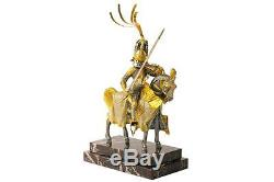 Horse Warrior Sterling Silver & Gold Plated Marble Sculpture Figurine M. Italy