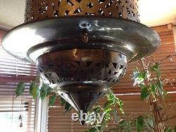 Huge Stunning Silver Plated Large Middle Eastern Moorish Lantern Lamp