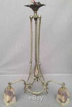 Huge antique french Art Nouveau ceiling lamp 1920's silver plated brass glass