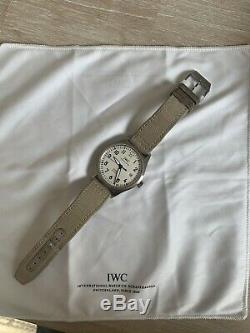 IWC Mark XVIII Pilot Watch White (Silver Plated) Dial On Beige Textile Strap