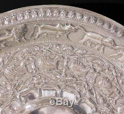 Indian Antique Silver Plated Tray. Sri Lankan Design