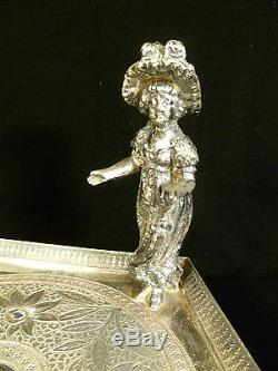 JAMES W TUFTS SILVER PLATED FIGURAL CALLING CARD TRAY With LITTLE GIRL CIRCA 1890