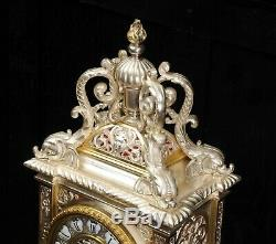 Japy Freres Antique French Silver Plated Bronze Bracket Clock