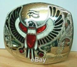 Johnson & HeldEnamel Inlay Eye of Horus Falcon Egyptian Theme FITS 2 WIDE BELT