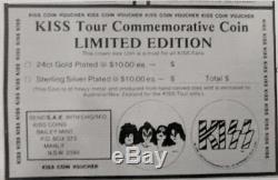 KISS Tour Sterling Silver Plated Commemorative Coin Ltd Ed 1980 1st variant RARE
