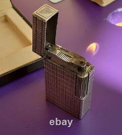 Large ST Dupoint silver plated Ligne 1 lighter i original box. Good condition