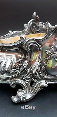 Large Silver Plated Victorian Jardiniere With Original Liner