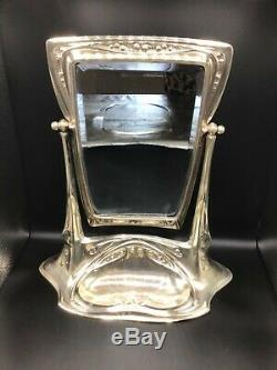 Large and Beautiful WMF Silver Plate Art Nouveau Vanity Mirror