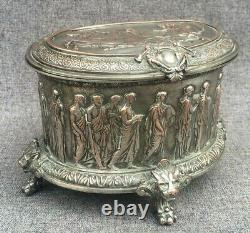 Large antique Napoleon III jewelry box 19th century silver plated copper lions