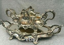 Large antique french Art Nouveau table center planter early 1900's silver plate