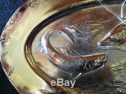 Large fish platter silver plated, Dautzenberg Germany, Art Nouveau 1905