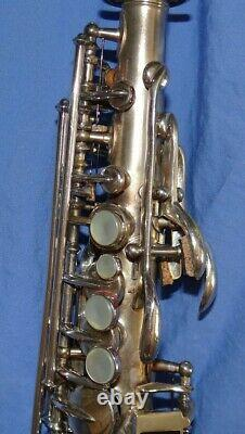 Late Model Buescher Curved Bb SILVER PLATED Soprano Sax with original case