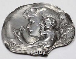 Lovely silver plated lady & angel WMF Art Nouveau Jugendstil small wall tray