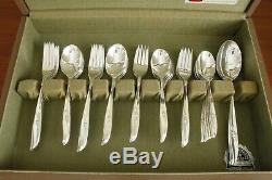 MAGIC ROSE 1847 Rogers silverplate 57pc COMPLETE SET for 8 in original chest