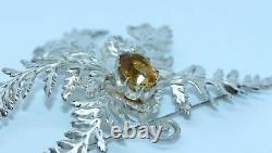 MAGNIFICENT ANTIQUE SILVER PLATED SCOTTISH FERN BROOCH or KILT PIN WITH CITRINE