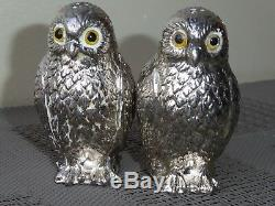 Mauro Manetti Owls Salt And Pepper Cellars Silver Plated Cute No Ice Bucket