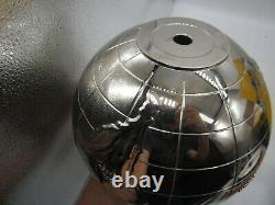 Mid Century International Silver Plate Globe Ice Bucket with Rocket Handle MCM
