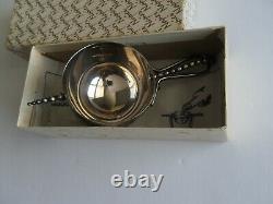 Napier Art Deco Jigger Bottoms Up Tipping Beaded Handle Silver Plate Shot cup