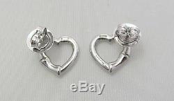 New Original Gucci Sterling Silver Heart Bamboo Stud Earrings YBD39026800100U