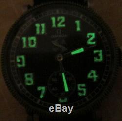 OMEGA wristwatch Military aviator style for pilot, silver plated case. Glow