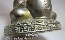 Old BUDDHA Incense Burner'Good Luck Swastika' around base Ornate Silver Plate
