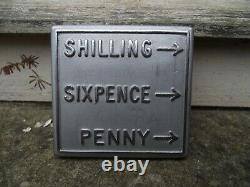 Original A & B telephone Coin Box denomination plate for shilling sixpence penny