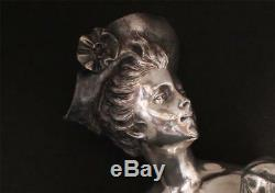 Original Antique Art Nouveau Silver Plate Statue Bust by W. Hareng Paris c. 1900